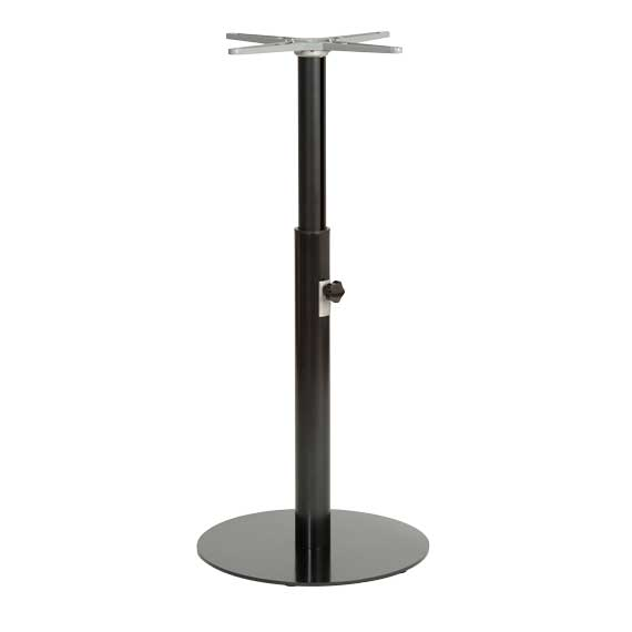 Table base height adjustable from dining to bar
