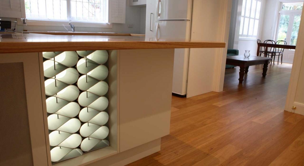 Designer modular wine rack in custom kitchen
