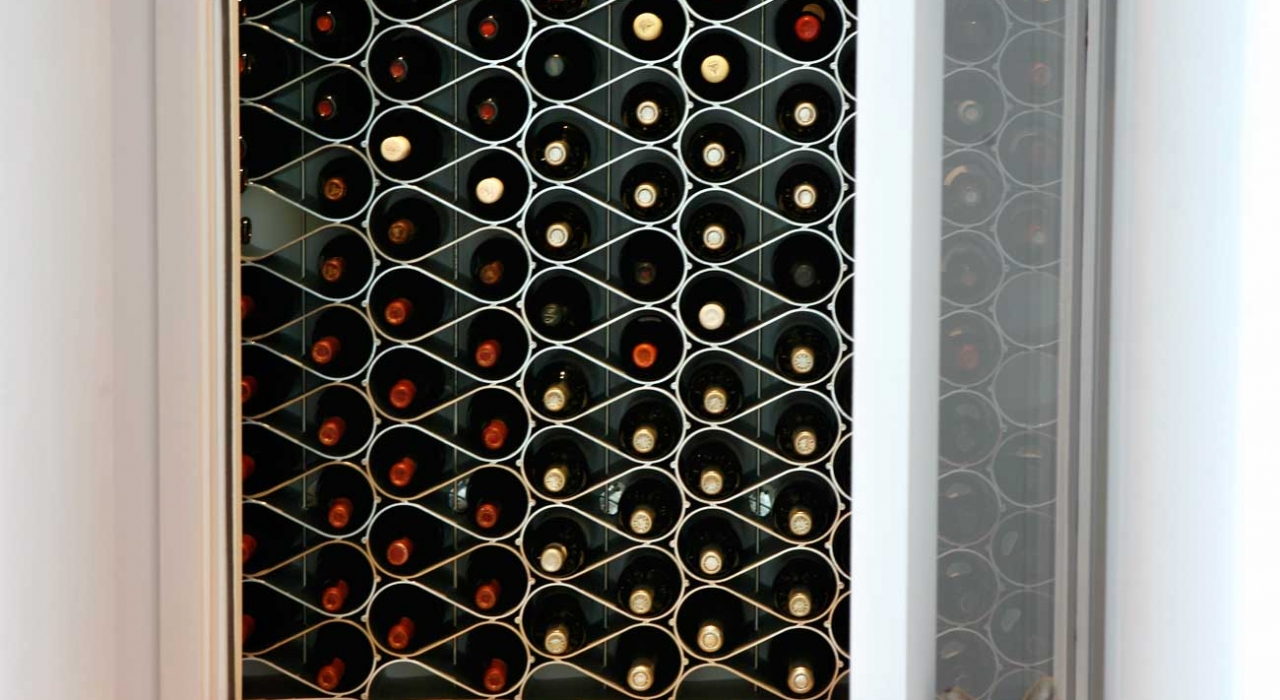 climate controlled cellar with echelon wine racks