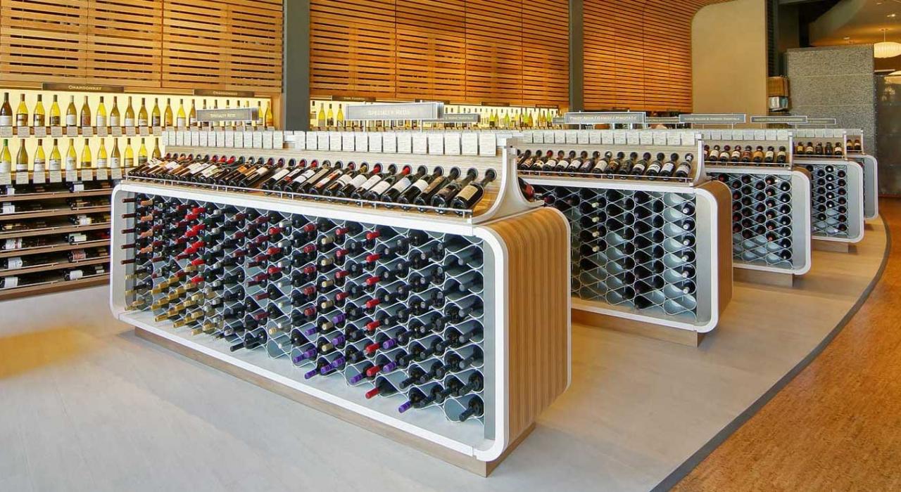 Echelon wine racks in retail store