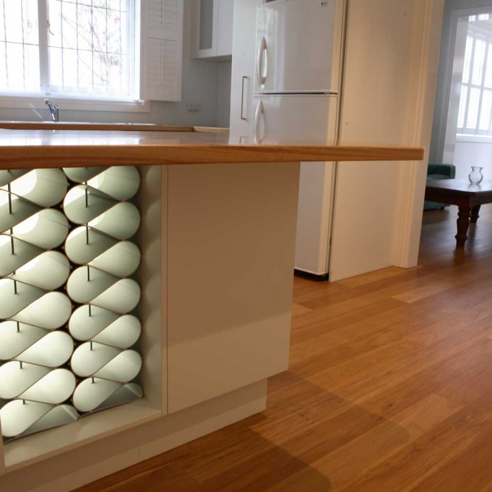 Designer modular wine rack in custom kitchen