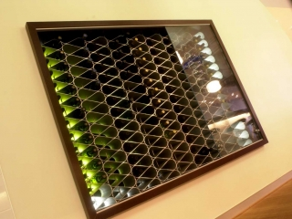 Wine storage in restaurant wall