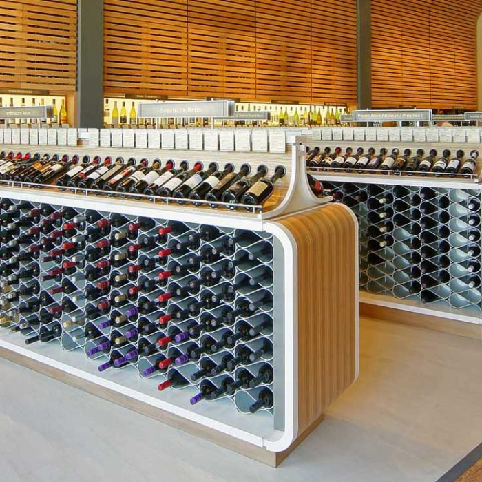 Echelon wine racks in retail store