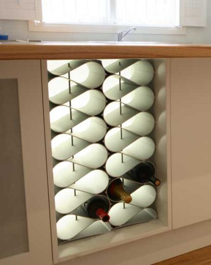 wine rack in modern kitchen cabinet