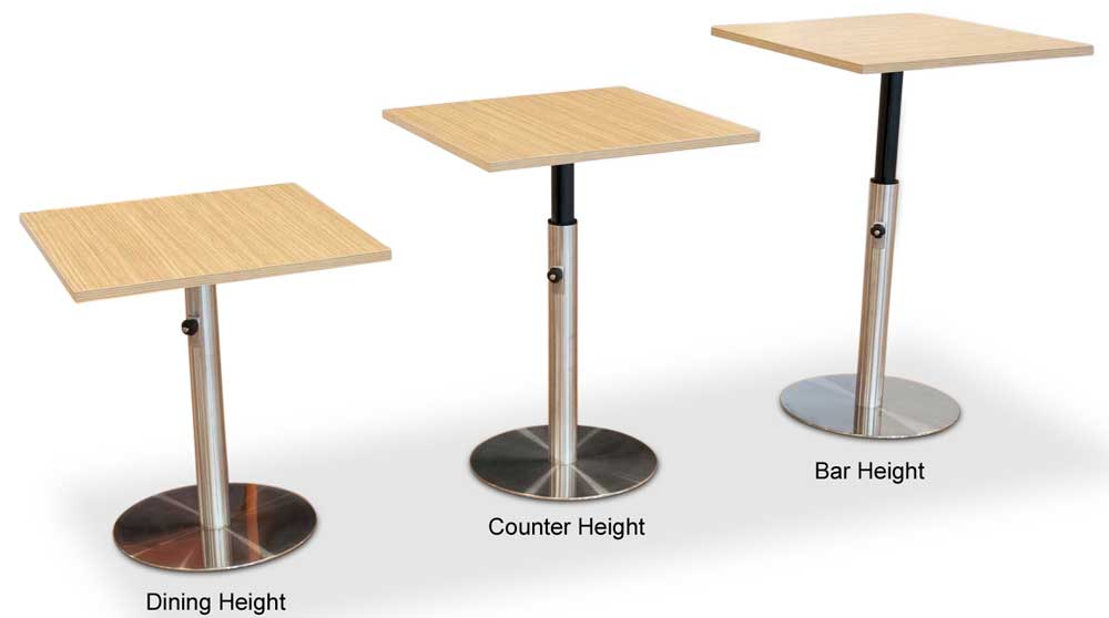 Adjustable Height Table Base for hospitality