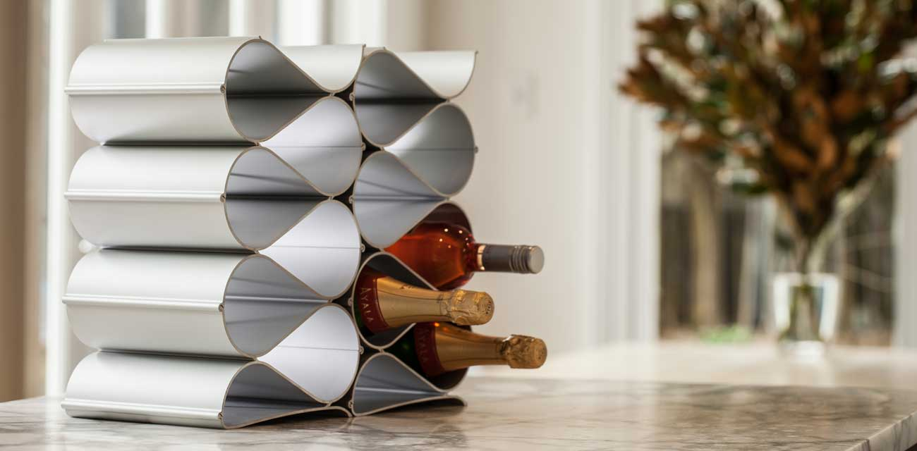 wine racks on kitchen counter top
