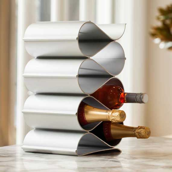 wave wine racks metal 6 bottle display