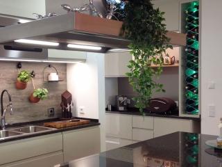 wine cabinet insert in kitchen LED backlit