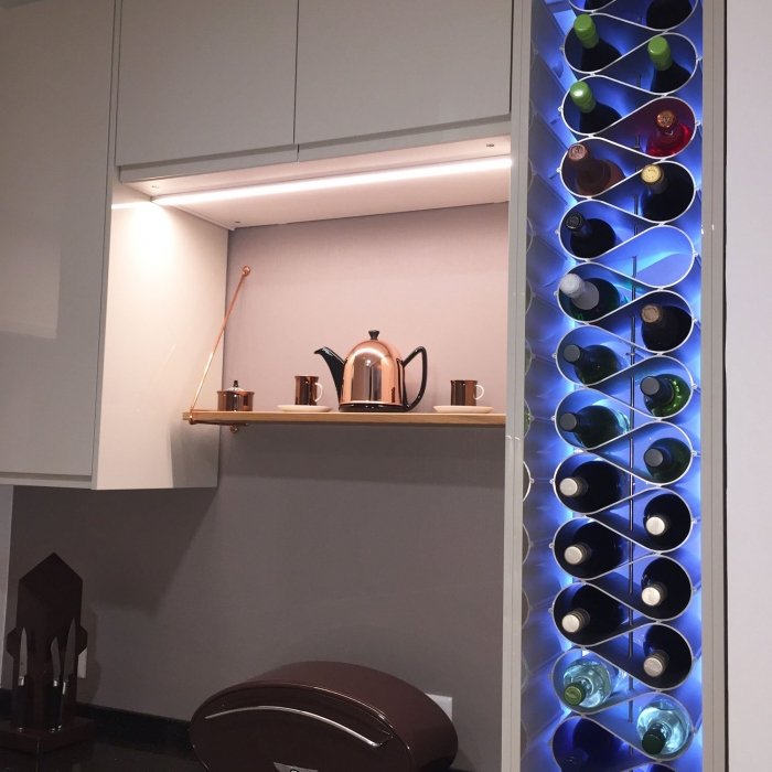 wine insert in kitchen cupboard LED backlit
