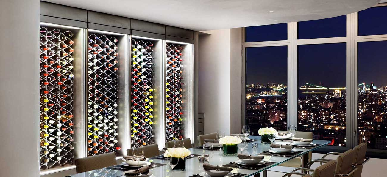 Wine cellar racks in cabinets by echelon NYC