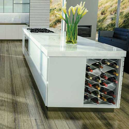 Wine racks in kitchen island